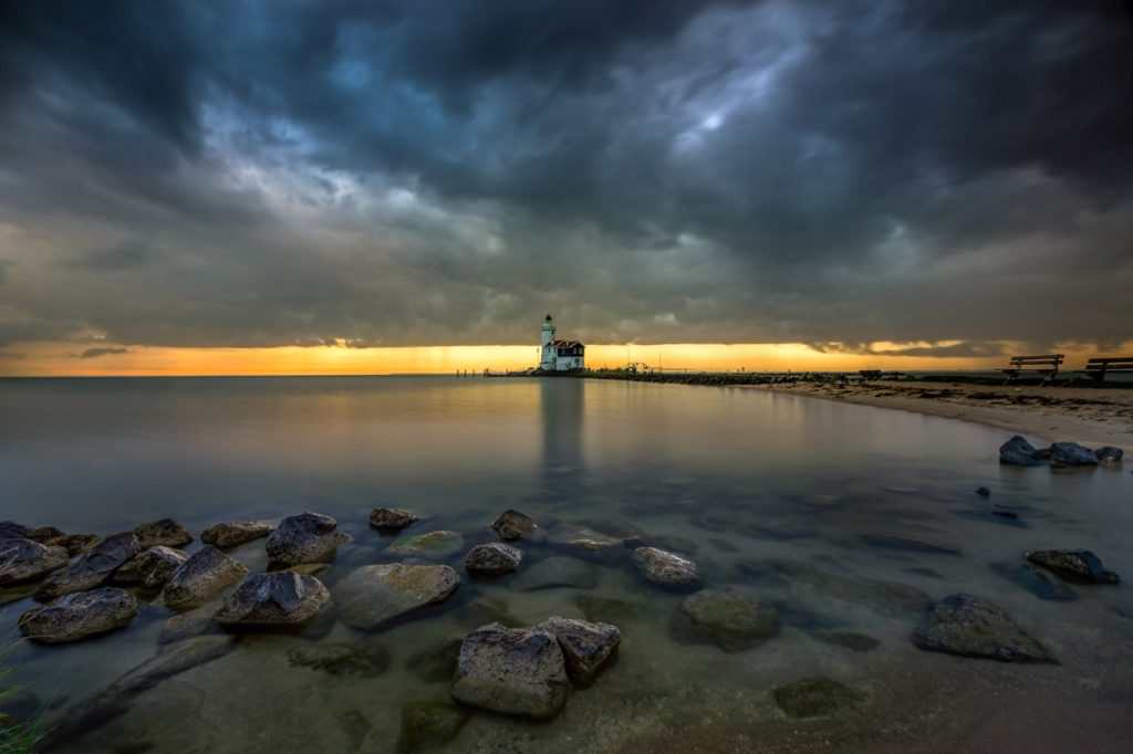 Storm coming at Marken lighthouse.