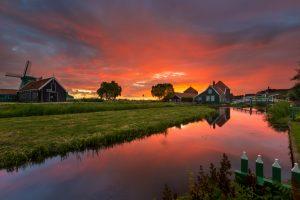 Wooden houses in dutch Landscape